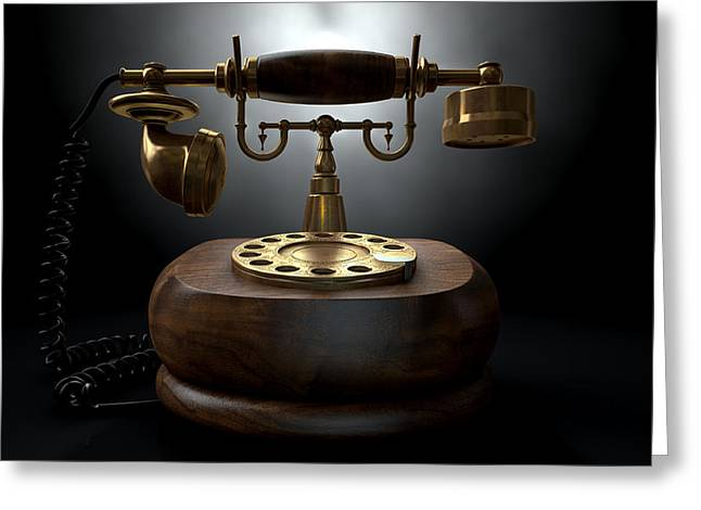 Analog Digital Art Greeting Cards - Vintage Telephone Dark Isolated Greeting Card by Allan Swart