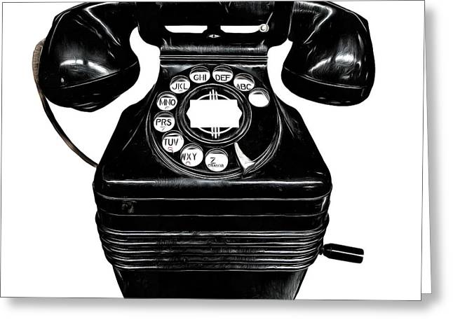 Receiver Greeting Cards - Vintage Telephone Greeting Card by Edward Fielding