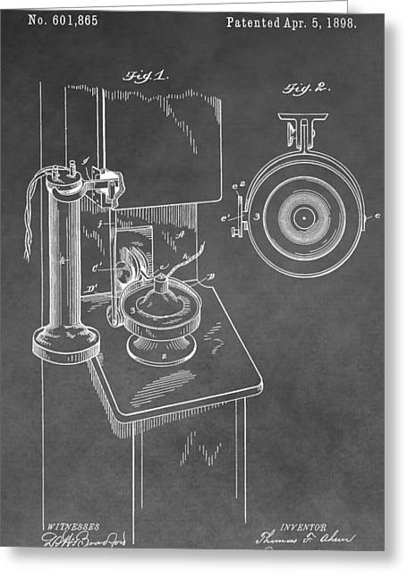 Talking Digital Art Greeting Cards - Vintage Telephone Patent Greeting Card by Dan Sproul