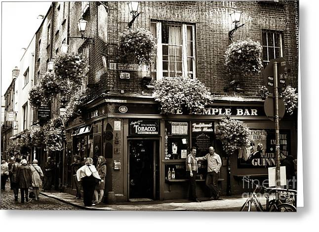 Photo Art Gallery Greeting Cards - Vintage Temple Bar Greeting Card by John Rizzuto
