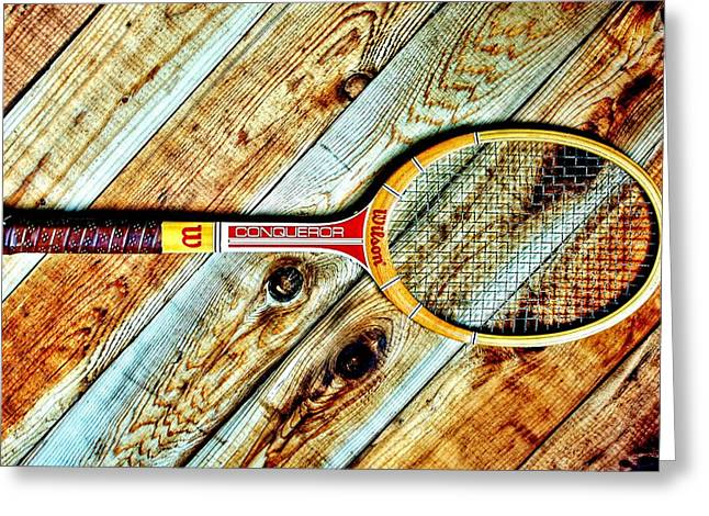 Racquet Greeting Cards - Vintage Tennis Greeting Card by Benjamin Yeager