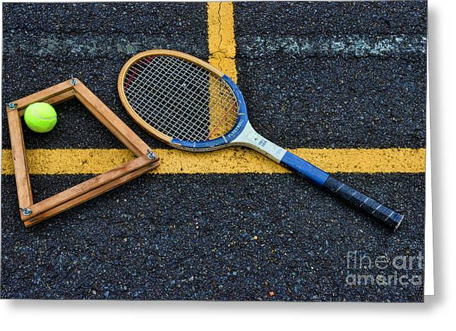 Volley Greeting Cards - Vintage Tennis Greeting Card by Paul Ward