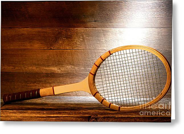 Plank Greeting Cards - Vintage Tennis Racket Greeting Card by Olivier Le Queinec