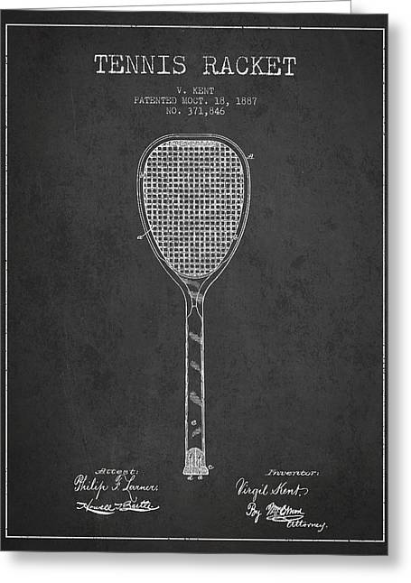Tennis Ball Greeting Cards - Vintage Tennnis Racket Patent Drawing from 1887-Dark Greeting Card by Aged Pixel