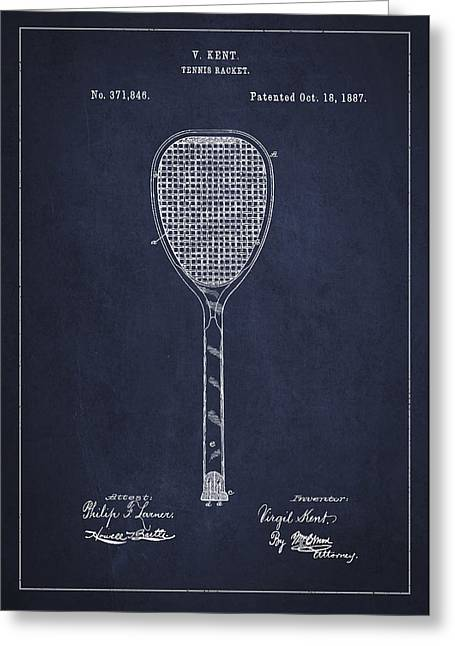 Tennis Racket Greeting Cards - Vintage Tennnis Racket Patent Drawing from 1887-Navy Blue Greeting Card by Aged Pixel