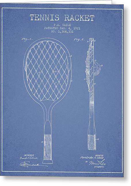 Tennis Racket Greeting Cards - Vintage Tennnis Racket Patent Drawing from 1921 Greeting Card by Aged Pixel