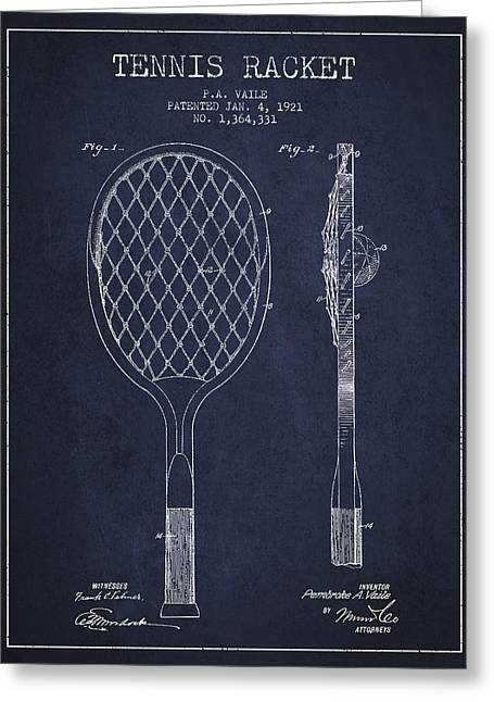 Tennis Racket Greeting Cards - Vintage Tennnis Racket Patent Drawing from 1921 - Navy Blue Greeting Card by Aged Pixel
