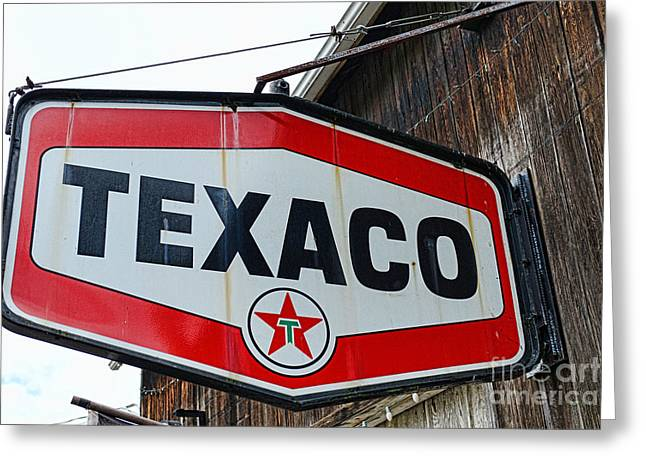 Texaco Sign Greeting Cards - Vintage Texaco Sign Greeting Card by Paul Ward