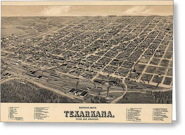 Cartography Mixed Media Greeting Cards - Vintage Texarkana Map Greeting Card by Dan Sproul