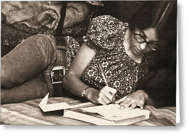 Pen And Paper Greeting Cards - Vintage Young Woman Writing  Greeting Card by Donna Haggerty