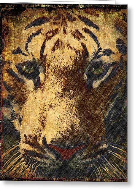 Vintage Tiger Confrontation Greeting Card by Georgiana Romanovna