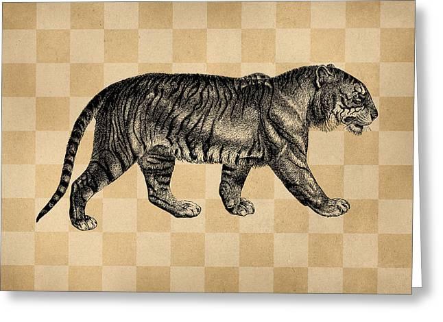Vintage Tiger Illustration Greeting Card by Flo Karp