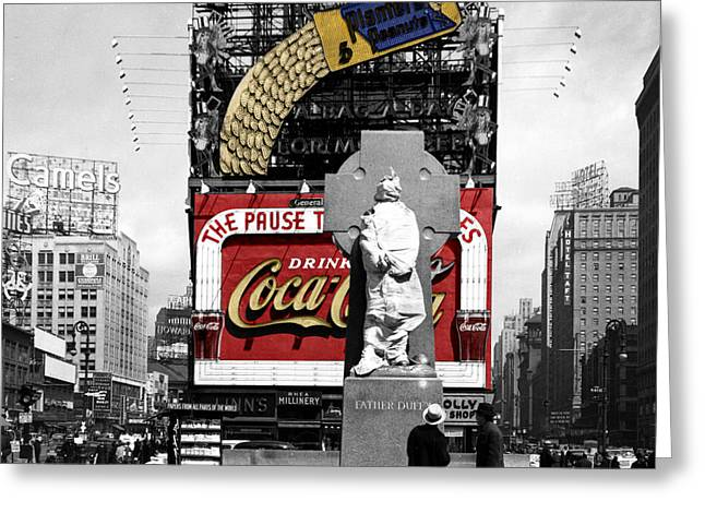 Vintage Times Square 1 Greeting Card by Andrew Fare
