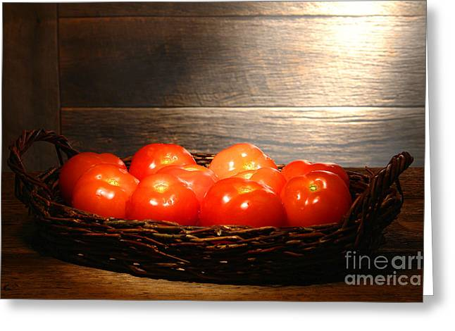 Diffused Greeting Cards - Vintage Tomatoes Greeting Card by Olivier Le Queinec