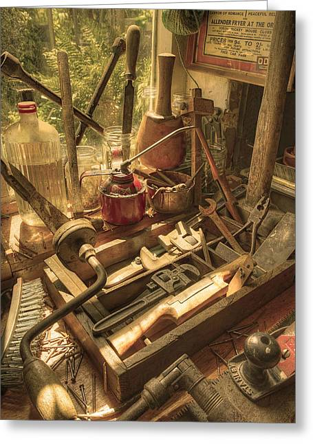 Work Bench Greeting Cards - Vintage Tools Greeting Card by Mal Bray