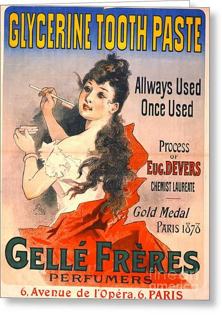 Perfumer Greeting Cards - Vintage Toothpaste Ad 1889 Greeting Card by Padre Art