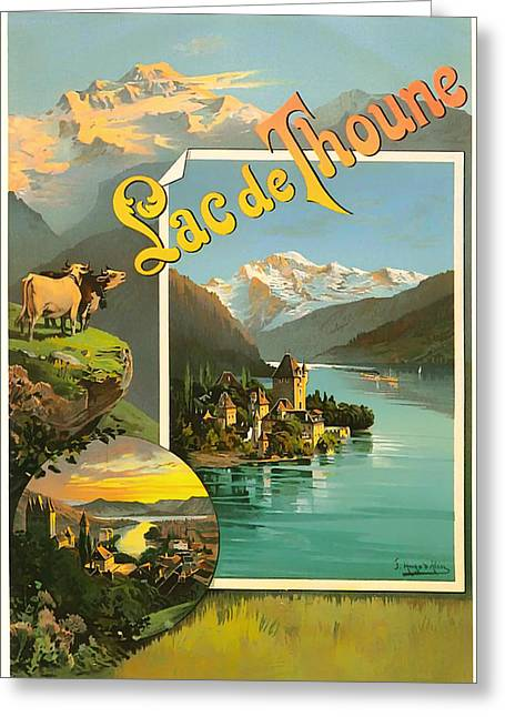 Signed Drawings Greeting Cards - Vintage Tourism Poster 1890 Greeting Card by Mountain Dreams