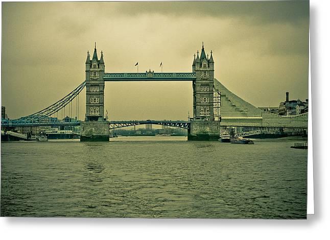 Reflex Greeting Cards - Vintage Tower Bridge Greeting Card by Eti Reid