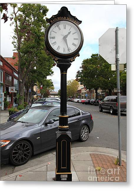 Sonoma County Greeting Cards - Vintage Town Clock In Historic Railroad Square District Santa Rosa California 5D25878 Greeting Card by Wingsdomain Art and Photography