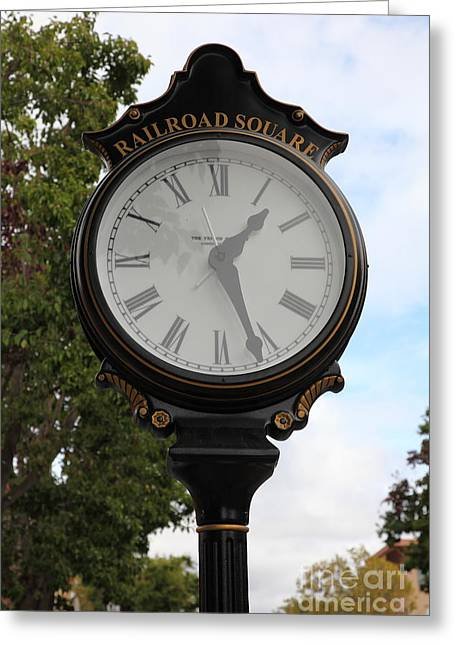 Sonoma County Greeting Cards - Vintage Town Clock In Historic Railroad Square District Santa Rosa California 5D25879 Greeting Card by Wingsdomain Art and Photography