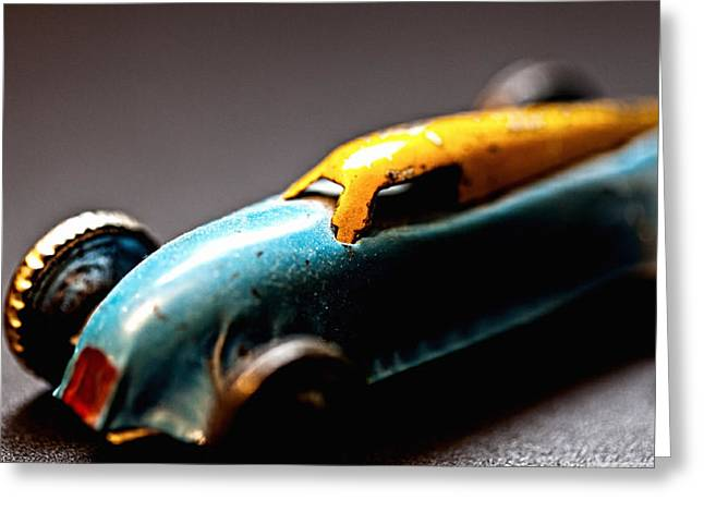 Boys Greeting Cards - Vintage Toy Car Greeting Card by Marvin Blaine
