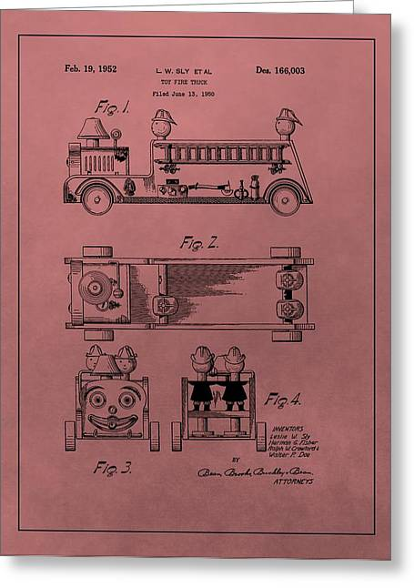 Child Toy Mixed Media Greeting Cards - Vintage Toy Fire Truck Patent Greeting Card by Dan Sproul