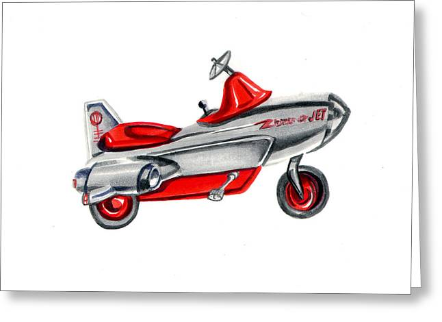 Steering Paintings Greeting Cards - Vintage Toy Pedal Airplane Greeting Card by Elaine Hodges