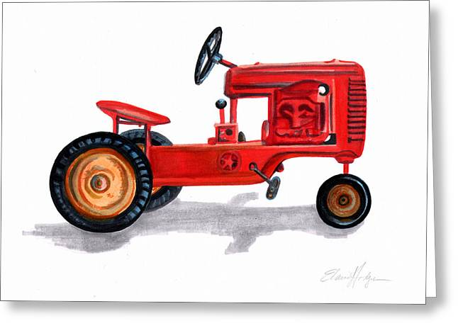 Steering Paintings Greeting Cards - Vintage Toy Pedal Tractor Greeting Card by Elaine Hodges