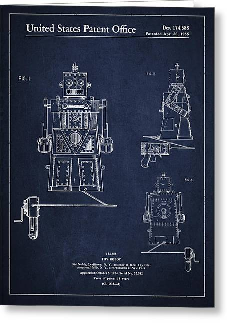 Kids Toys Greeting Cards - Vintage Toy Robot Patent Drawing from 1955 Greeting Card by Aged Pixel