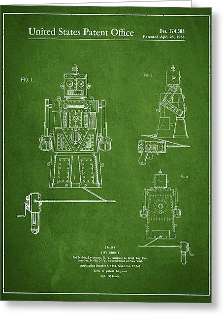 Starwars Greeting Cards - Vintage Toy Robot Patent Drawing from 1955 - Green Greeting Card by Aged Pixel