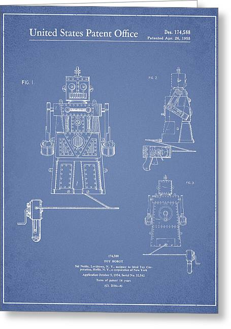 Starwars Greeting Cards - Vintage Toy Robot Patent Drawing from 1955 - Light Blue Greeting Card by Aged Pixel