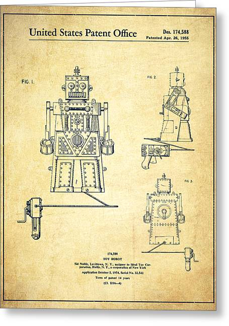Starwars Greeting Cards - Vintage Toy Robot Patent Drawing from 1955 - Vintage Greeting Card by Aged Pixel