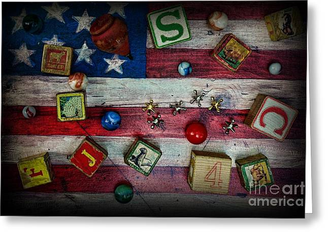 Vintage Toys On The American Flag Greeting Card by Paul Ward
