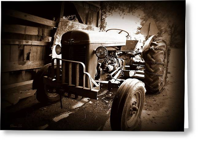 Old Barns Greeting Cards - Vintage Tractor Greeting Card by Diane Leo