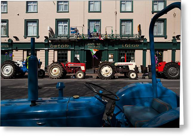 Veteran Photography Greeting Cards - Vintage Tractors Lined Greeting Card by Panoramic Images