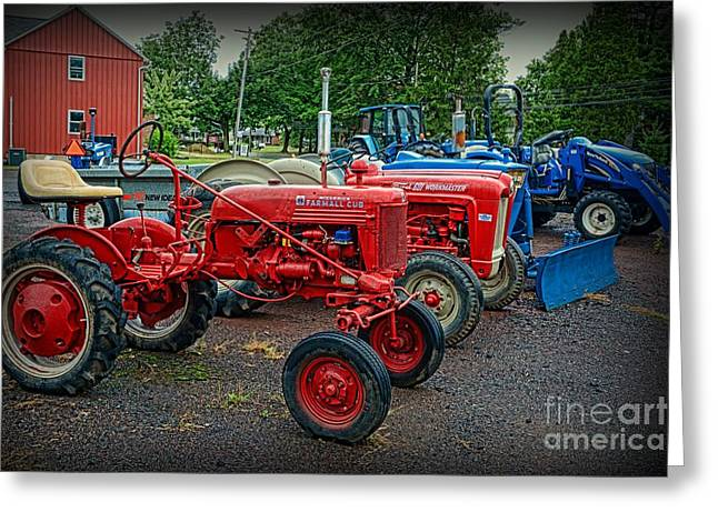 Pull Greeting Cards - Vintage Tractors Greeting Card by Paul Ward