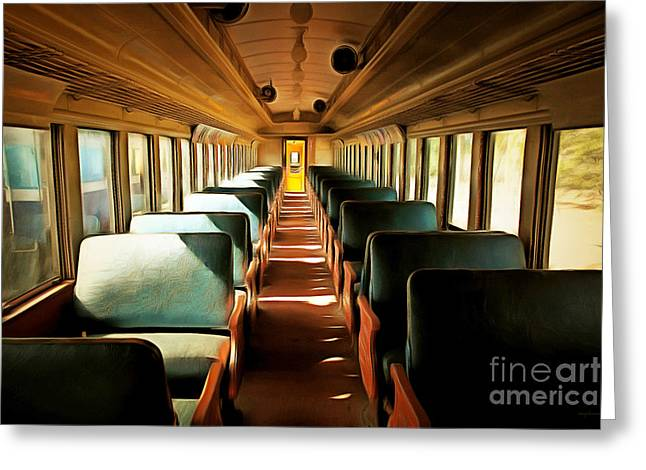Tanker Train Greeting Cards - Vintage Train Passenger Car 5D28306brun Greeting Card by Wingsdomain Art and Photography