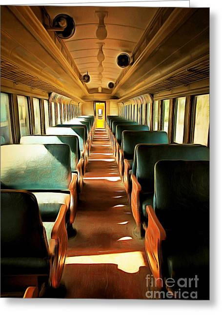 Tanker Train Greeting Cards - Vintage Train Passenger Car 5D28307brun Greeting Card by Wingsdomain Art and Photography