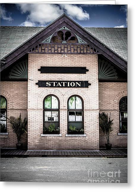 Windsor Greeting Cards - Vintage Train Station Greeting Card by Edward Fielding