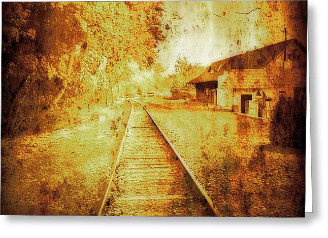 Maggie Vlazny Greeting Cards - Vintage Train Tracks Greeting Card by Maggie Vlazny