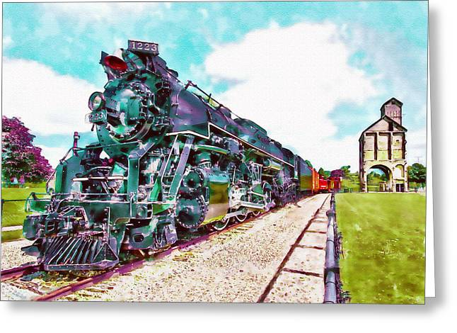 Wall-art Digital Art Greeting Cards - Vintage Train watercolor Greeting Card by Marian Voicu