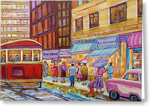 Vintage Tram Car-montreal Downtown Scene-classic Chevy Car Greeting Card by Carole Spandau