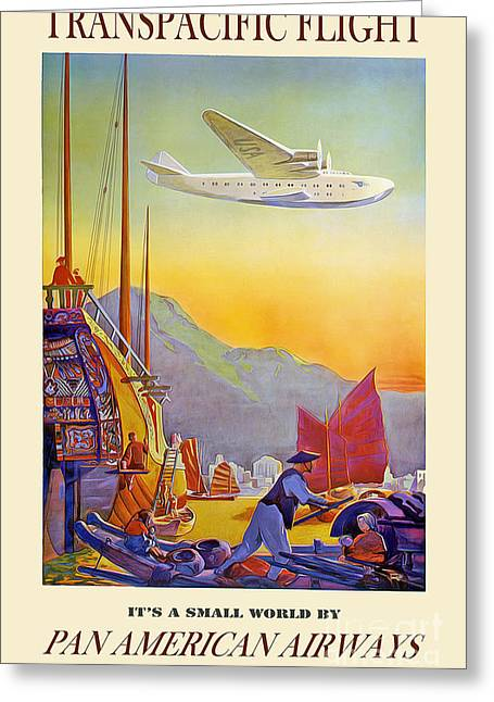 Vintage Airplane Greeting Cards - Vintage TransPacific Flight Travel Poster Greeting Card by Jon Neidert
