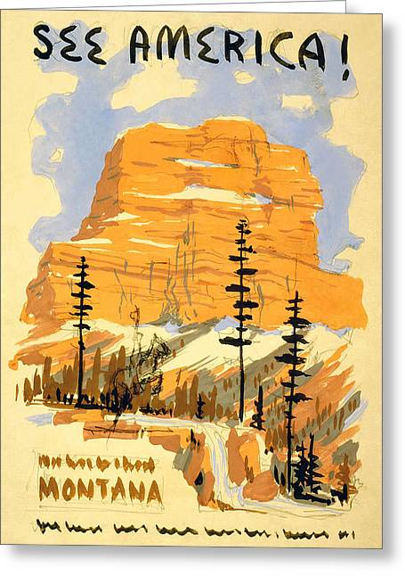 Seen Greeting Cards - Vintage Travel - Montana  Greeting Card by Nomad Art And  Design