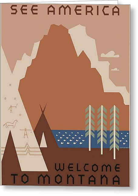 Seen Greeting Cards - Vintage Travel - See America - Montana Greeting Card by Nomad Art And  Design