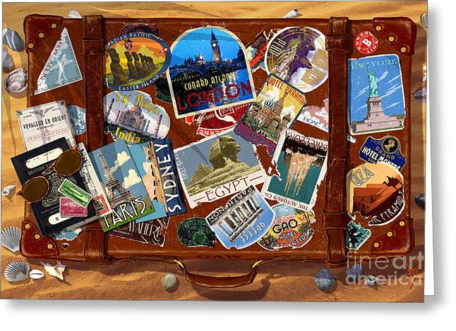 Bag Greeting Cards - Vintage Travel Case Greeting Card by Garry Walton