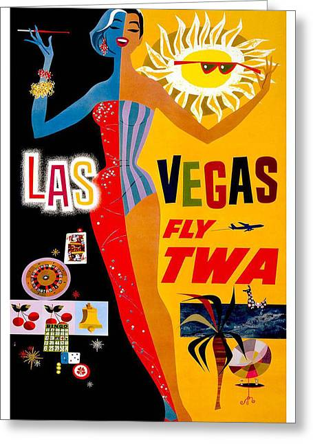 Las Vegas Greeting Cards - Vintage Travel Poster - Las Vegas Greeting Card by Nomad Art And  Design