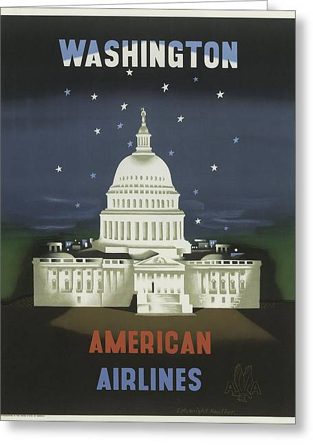 American Airlines Greeting Cards - Vintage Travel Poster - Washington Greeting Card by Nomad Art And  Design