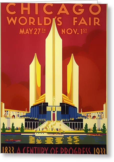 1933 Mixed Media Greeting Cards - Vintage Travel Poster - Chicago Worlds Fair 1933 Greeting Card by Mountain Dreams