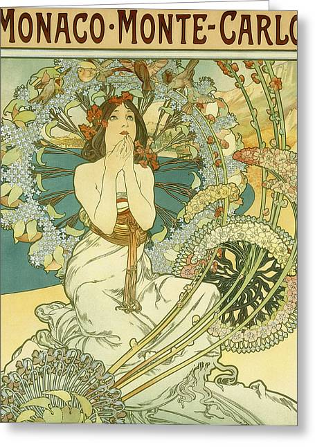 Beach Prints Drawings Greeting Cards - Vintage Travel Poster for Monaco Monte Carlo Greeting Card by Alphonse Marie Mucha